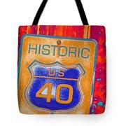 Historic Route 40 Pop Art Tote Bag