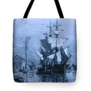 Historic Seaport Blue Schooner Tote Bag