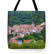 Historic Town Of Bakar In Green Forest Tote Bag