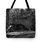 Historical 1868 Cades Cove Cable Mill In Black And White Tote Bag