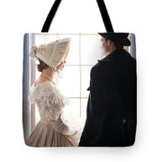 Historical Couple Standing By A Window Tote Bag