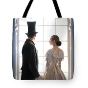 Historical Couple Standing In An Arched Window Tote Bag