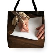 Historical Senior Man Writing With A Quill Pen Tote Bag