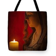Historical Woman Holding A Candle Tote Bag