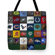 Hit The Gridiron Football League Retro Team Logos Recycled Vintage License Plate Art Tote Bag