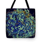 Hiv T Cell Under Attack Sem Tote Bag by Science Source