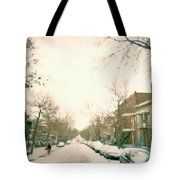 Hiver Psc Winter In The Point Snowy Day Paintings Montreal Art Cityscenes Brick Houses Snowed In Tote Bag