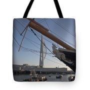 Hms Warrior Viewing The Spinnaker Tower Tote Bag