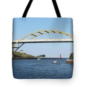 Hoan Bridge Boats Light House 1 Tote Bag