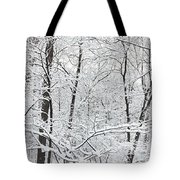 Hoar Frost Covered Trees In Forest Tote Bag