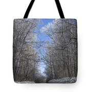 Hoar Frost On Campground Road Tote Bag