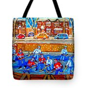 Hockey Art Collectible Cards And Prints Snowy Day  Neighborhood Rinks Verdun Montreal Art C Spandau Tote Bag
