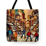 Hockey Game Near Winding Staircases Montreal Streetscene Tote Bag by Carole Spandau