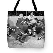 Hockey Goalie Chin Stops Puck Tote Bag