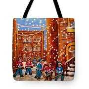 Hockey In The Laneway On Snowy Day Paintings Of Montreal Streets In Winter Carole Spandau Tote Bag