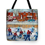Hockey Rink At Van Horne Montreal Tote Bag
