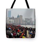Holiday Crowds Throng The Bund In Shanghai China Tote Bag