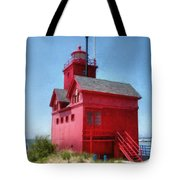 Holland Harbor And Big Red Tote Bag