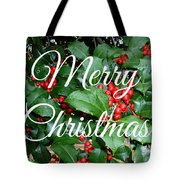 Holly Berries Merry Christmas Tote Bag