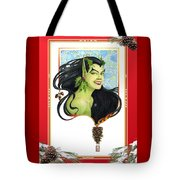 Holly Elf With Pine Cones Tote Bag
