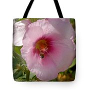 Hollyhock And Bee Tote Bag