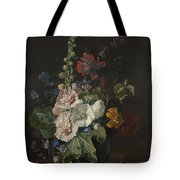Hollyhocks And Other Flowers In A Vase Tote Bag