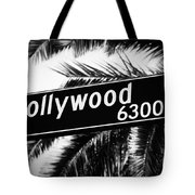 Hollywood Boulevard Street Sign In Black And White Tote Bag