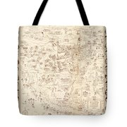Hollywood Star Map Golden Age Celebrities 1937 Tote Bag
