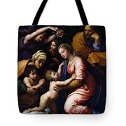 Holy Family Known As The Grande Famille Of Francois I, 1518 Oil On Canvas Tote Bag