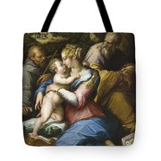 Holy Family With Saint Francis In A Landscape Tote Bag