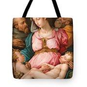 Holy Family With The Infant Saint John The Baptist And Saint Francis Tote Bag by Giorgio Vasari