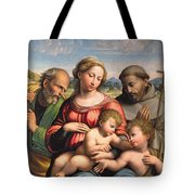 Holy Family With The Infant St. John The Baptist And St. Francis Tote Bag
