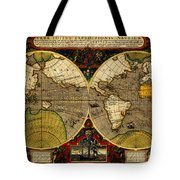 Hondius Map Of The World 1595 Tote Bag