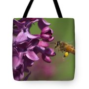 Honey Bee And Lilac Tote Bag
