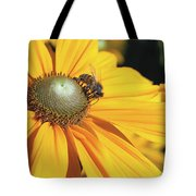 Honey Bee And Yellow Dahlia Flower Tote Bag