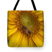 Honey Bee Close Up On Edge Of Sunfower...  # Tote Bag