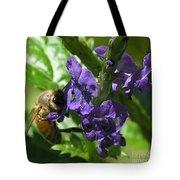 Honey Bee On Purple Flower Tote Bag