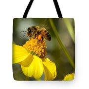 Honeybee Feasting On Nectar Of Yellow Flower Tote Bag