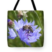 Honeybee In Bachelor's Button Tote Bag