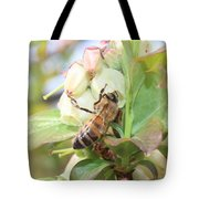 Honeybee In Blueberry Blossoms Tote Bag