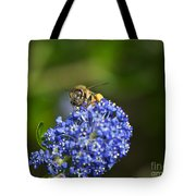 Honeybee On California Lilac Tote Bag