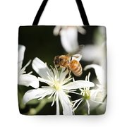 Honeybee On Clematis Tote Bag
