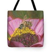 Honeybee On Pink Zinnia Tote Bag