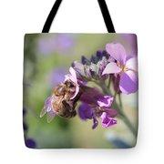 Honeybee On Purple Wall Flower Tote Bag