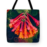 Honeysuckle Bloom In An Abstract Garden Painting Tote Bag