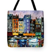 Honfleur-normandie - Palette Knife Oil Painting On Canvas By Leonid Afremov Tote Bag