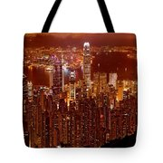 Hong Kong In Golden Brown Tote Bag
