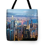 Hong Kong At Dusk Tote Bag