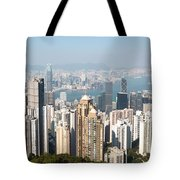 Hong Kong Harbor From Victoria Peak In A Sunny Day Tote Bag by Matteo Colombo