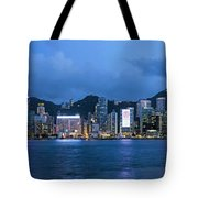 Hong Kong Island Central City Skyline At Blue Hour Tote Bag